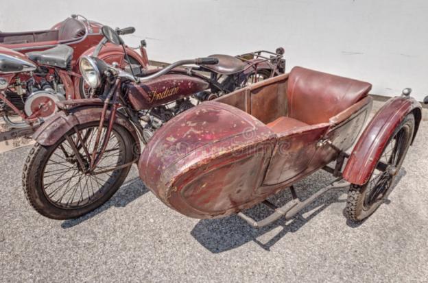 Foto på motorcykel från 1920-talet